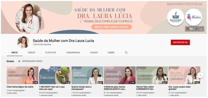 Marketing digital para médicos: imagem do canal do youtube da médica ginecologista Laura Lúcia