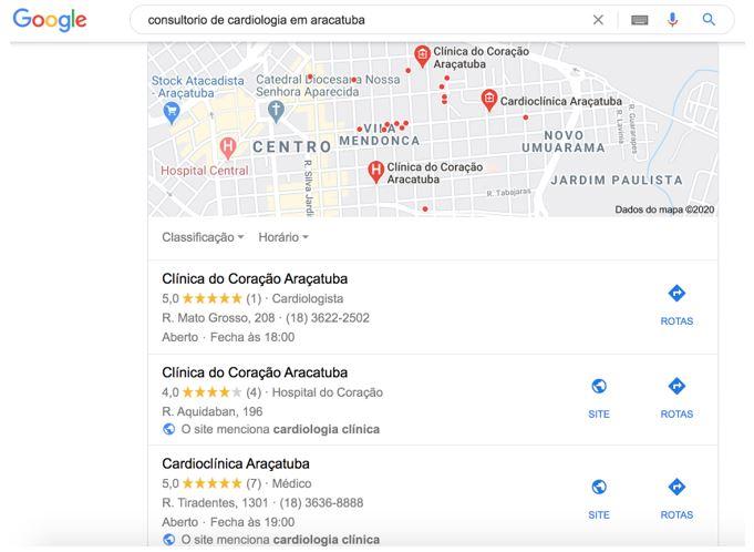 marketing para médicos: imagem de uma busca realizada no Google Meu Negócio