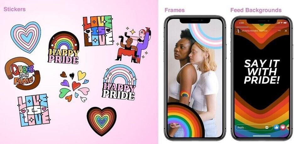Ultimas novidades do Facebook: imagem de vários adesivos sobre LBT com arco=íris colorido e coração