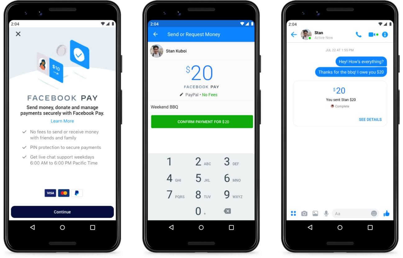 Ultimas novidades do Facebook: imagem de três telas de celulares mostrando o app Facebook Pay