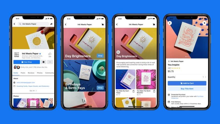 Ultimas novidades do Facebook: imagem de três telas de celulares mostrando o Facebook Shops