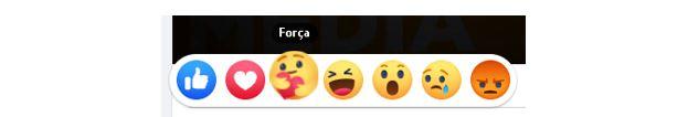Ultimas novidades do Facebook: imagem mostrando o emoji gostei representado por uma mão dando joia em azul, o emoji amei representado por um coração vermelho, o emoji força representado por uma carinha amarela abraçando um coração vermelho, um emoji haha representado por uma carinha amarela sorrindo, o emoji uau representado por uma carinha amarela com a boca aberta, o emoji triste representado por uma carinha amarela com uma lágrima azul escorrendo e o emoji Grr com uma carinha laranja brava