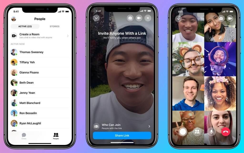 Ultimas novidades do Facebook: imagem de três telas de celulares mostrando o app Messenger Rooms
