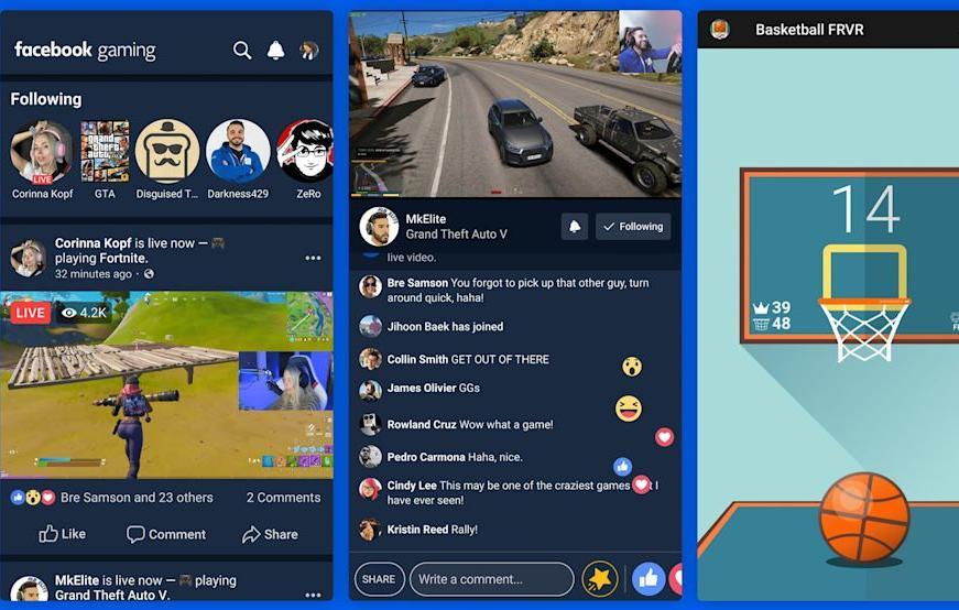 Ultimas novidades do Facebook: imagem de três telas de celulares mostrando o app Twitch