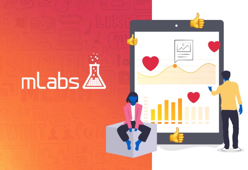 Imagem mostra o logo da mLabs ao lado de uma ilustração com gráficos de crescimento.