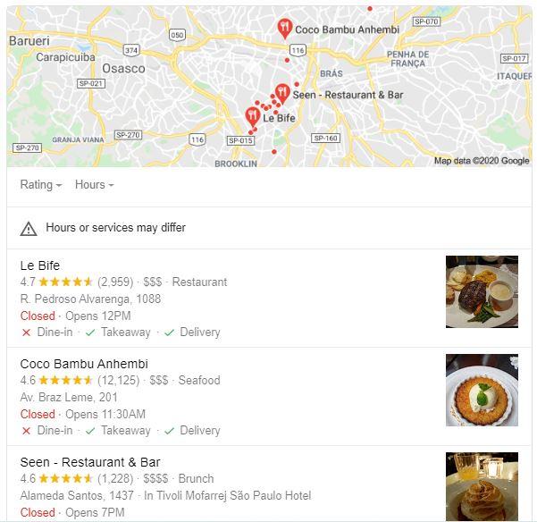 marketing para restaurantes: imagem do google meu negócio com um mapa da cidade de são paulo e uma lista de restaurantes sugeridos