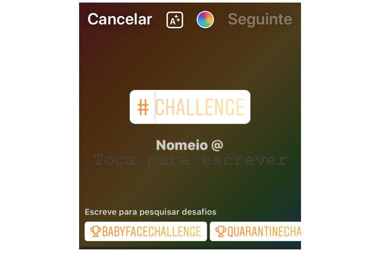 Novidades do Instagram: imagem do sticker desafio ou challenge