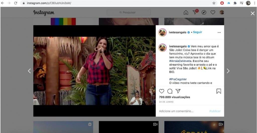 Novidades do Instagram: imagem de uma live da Ivete Sangalo sendo assistida pela tela do computador