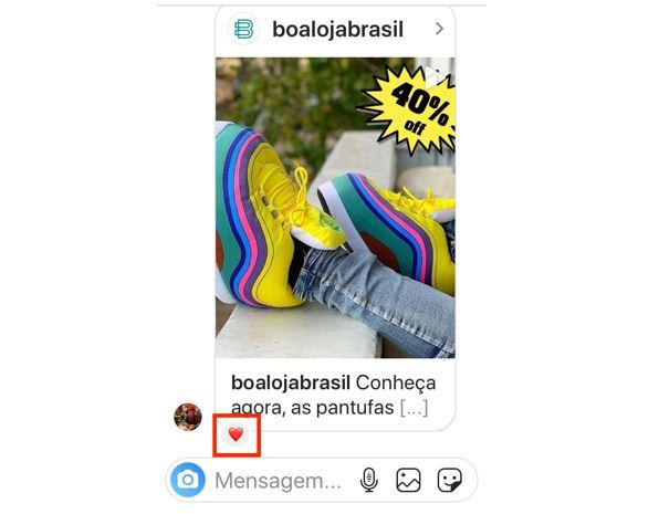 Novidades do Instagram: imagem de uma mensagem na dm com interações de coração disponível