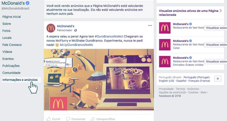 Social Ads: imagem de um anúncio do Mc Donald's no Facebook