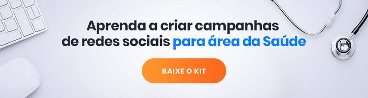 Imagem de um banner publicitário com a frase: kit campanha de redes sociais para área da saúde.