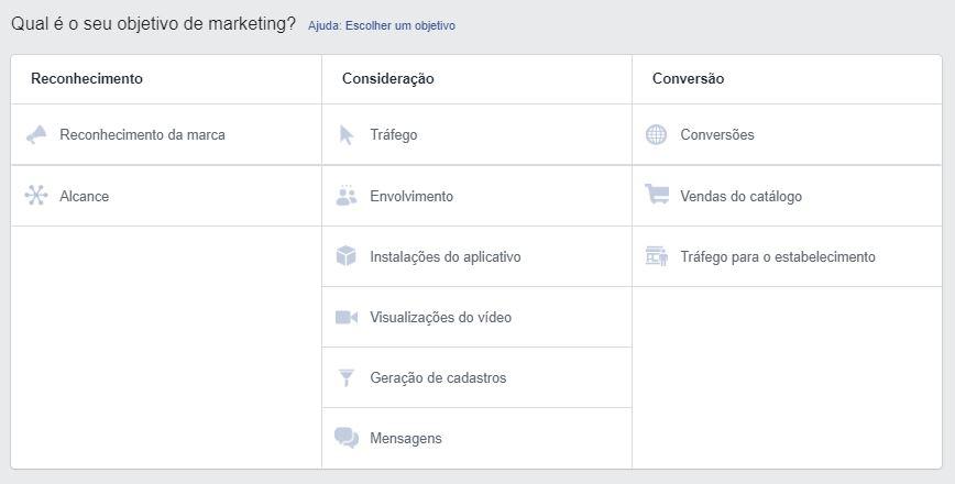 Gerenciador de anúncios do Facebook: imagem da ferramenta de anúncios do Facebook mostrando os objetivos da campanha