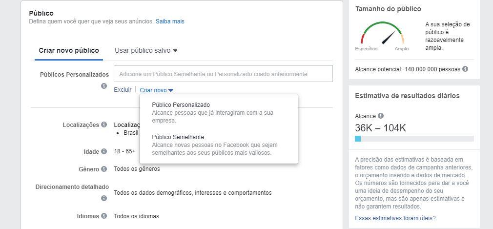 Gerenciador de anúncios do Facebook: imagem da ferramenta de anúncios do Facebook indicando onde se localizam os públicos personalizados