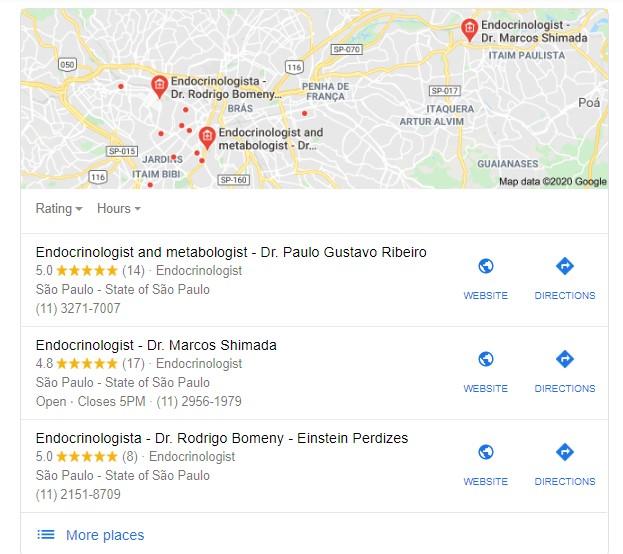 Marketing médico: imagem da página do Google Meu Negócio