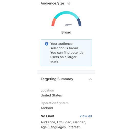 Tiktok marketing: imagem da página de segmentação de público no app