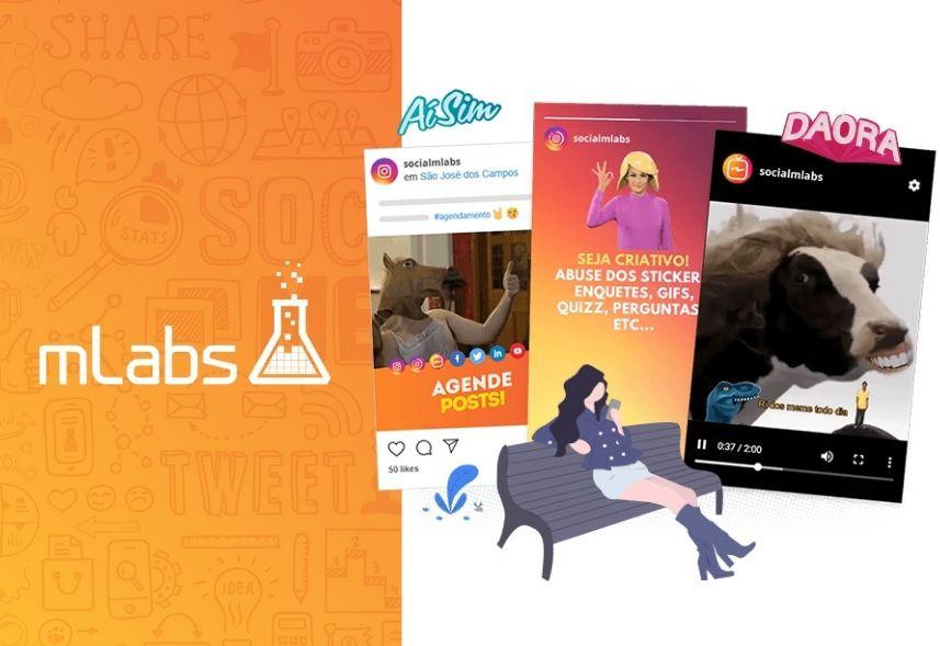 mLabs é bom: imagem com o logo da mLabs e posts nos Stories do Instagram