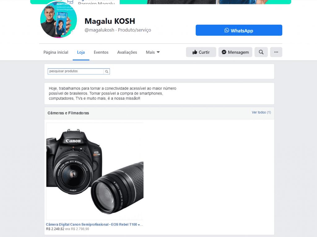 Social commerce: imagem da página da Magalu no Facebook