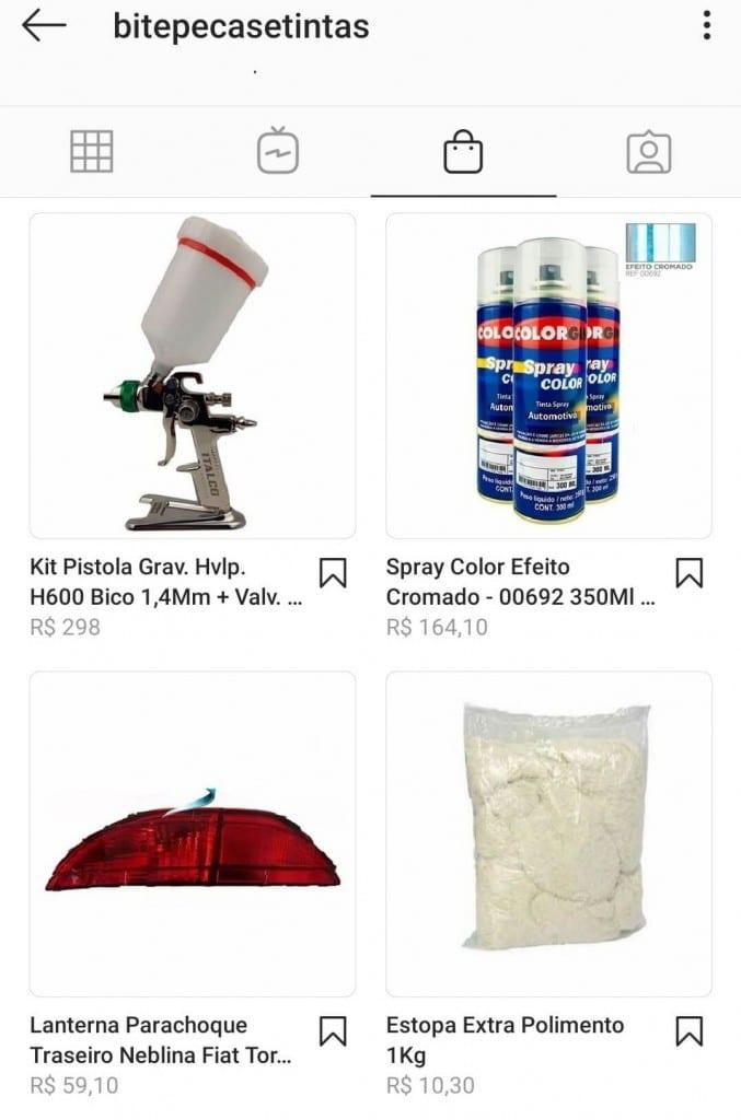 Social commerce: imagem do perfil da Bite Peças e Tintas no Instagram