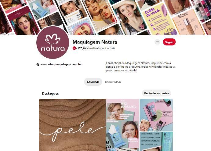 Social commerce: imagem do perfil da Natura no Pinterest