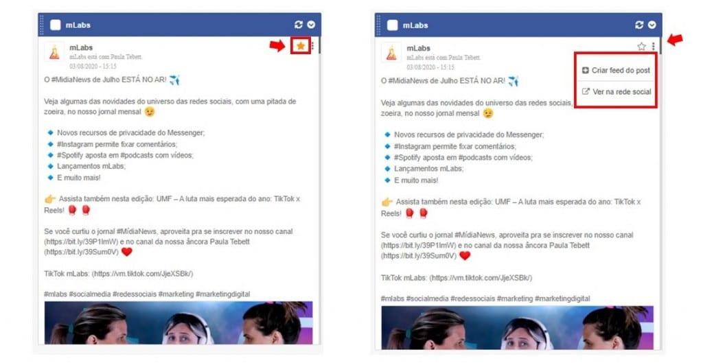 Como usar mLabs: imagem da tela de feed