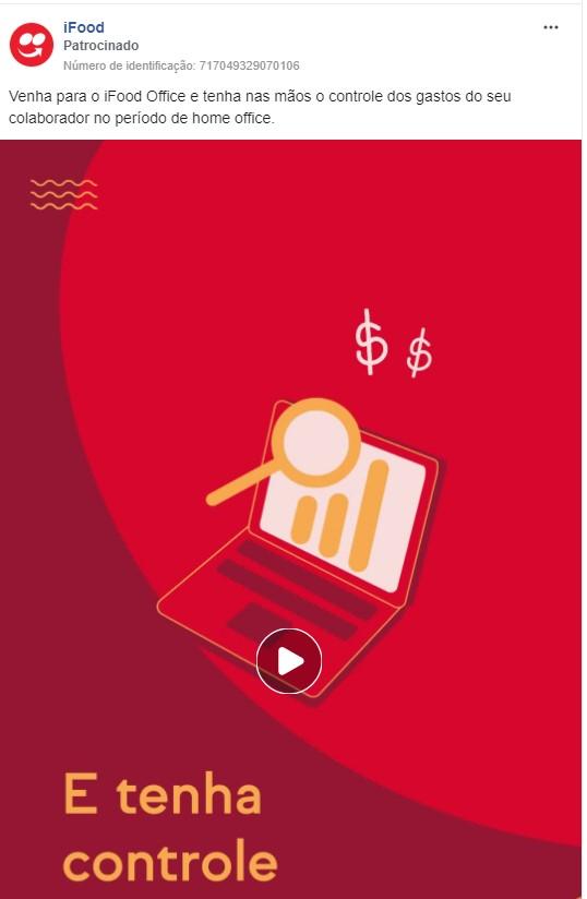 Objetivos de campanha Facebook: imagem do anúncio do iFood Office no Facebook