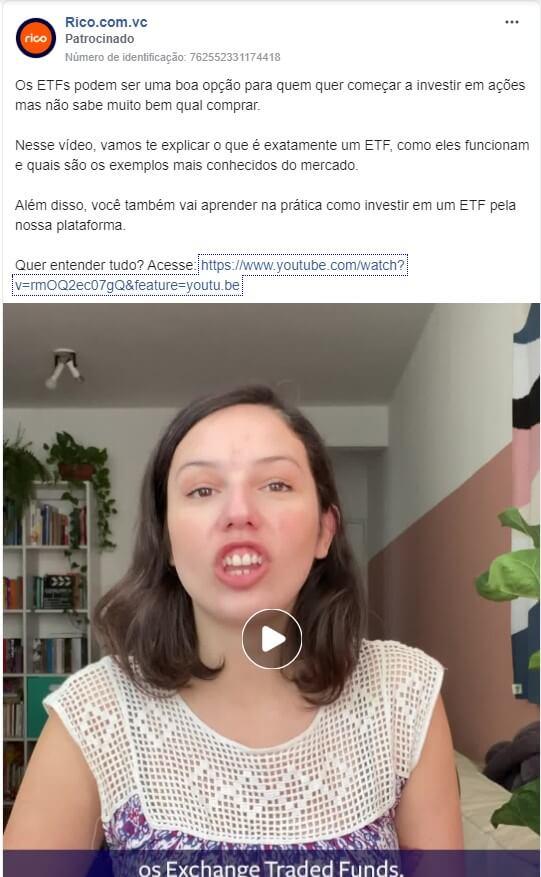 Objetivos de campanha Facebook: imagem do anúncio da corretora Rico no Facebook