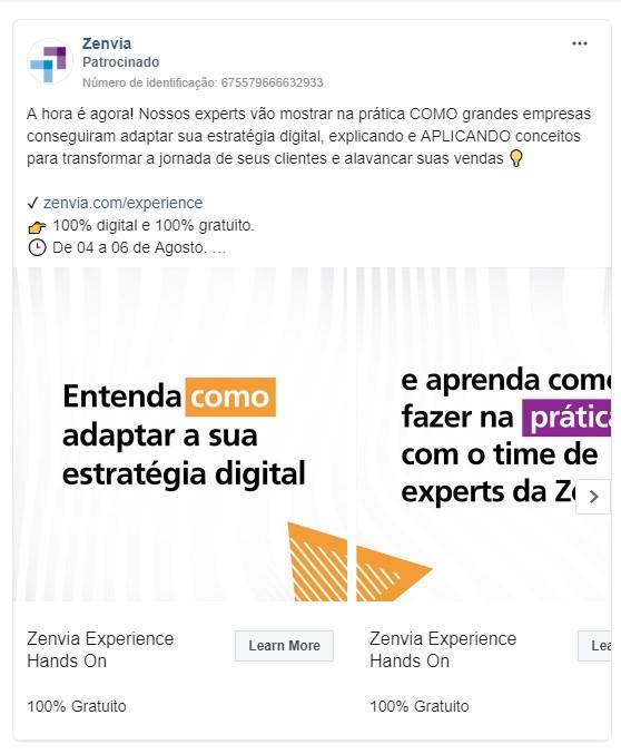 Objetivos de campanha Facebook: imagem do anúncio da marca Zenvia no Facebook