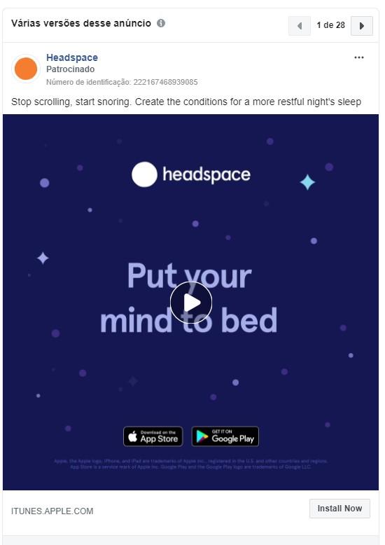 Objetivos de campanha Facebook: imagem do anúncio do aplicativo Headspace no Facebook