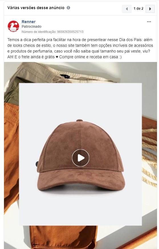 Objetivos de campanha Facebook: imagem do anúncio da Renner no Facebook