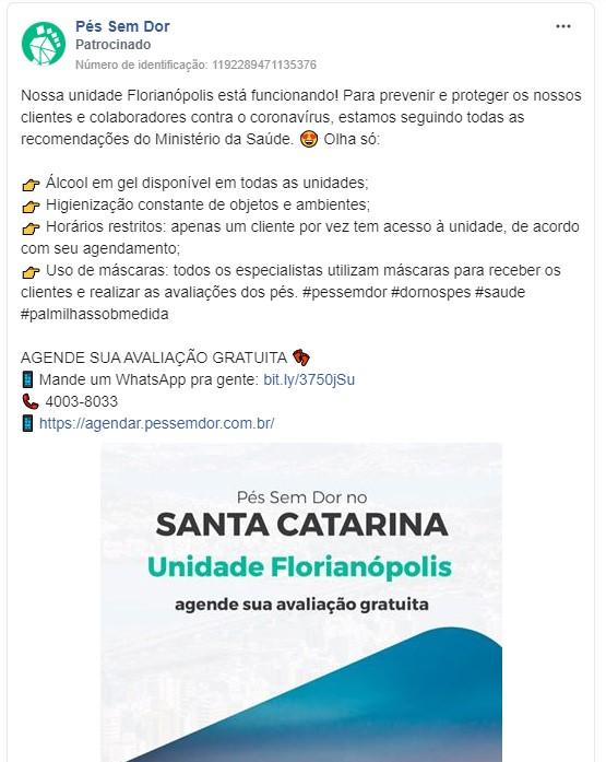 Objetivos de campanha Facebook: imagem do anúncio da marca Pés Sem Dor no Facebook