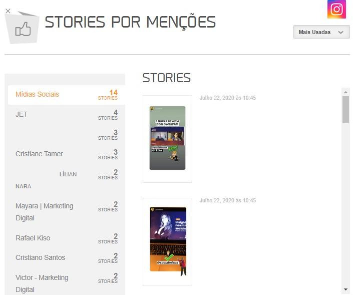 Relatório Stories Instagram: imagem do gráfico de Stories por Tipo da mLabs