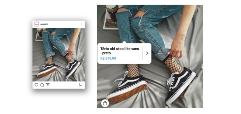 Como vender pelo Instagram 3: exemplo de publicação de conteúdo do Instagram Shopping. A imagem mostra as pernas de uma pessoa usando calça jeans com rasgados no joelho e um tênis, há uma marcação de preço sobre a calça jeans.