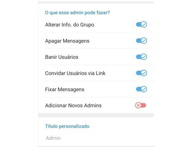 Grupos Telegram: imagem da tela admin do Telegram