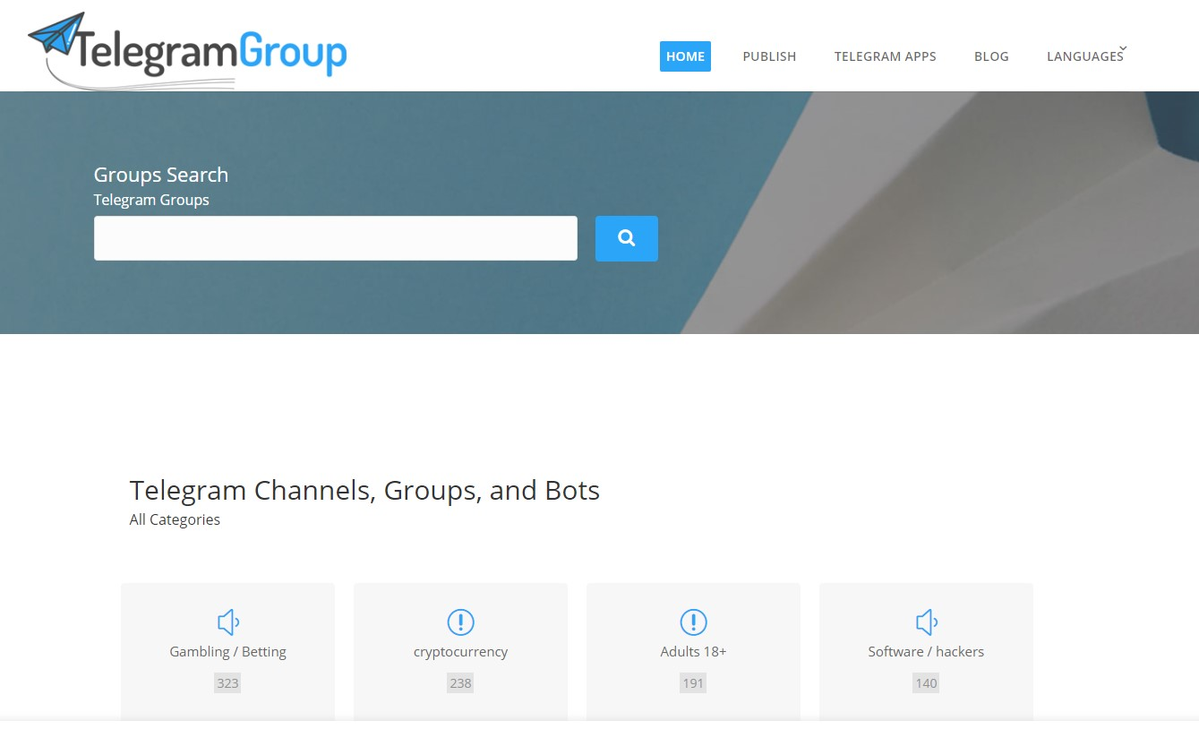 Grupos Telegram: imagem do site Telegram Groups