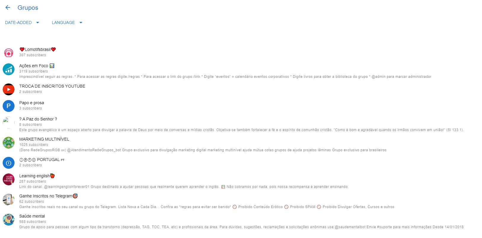 Grupos Telegram: imagem do site Telegroups