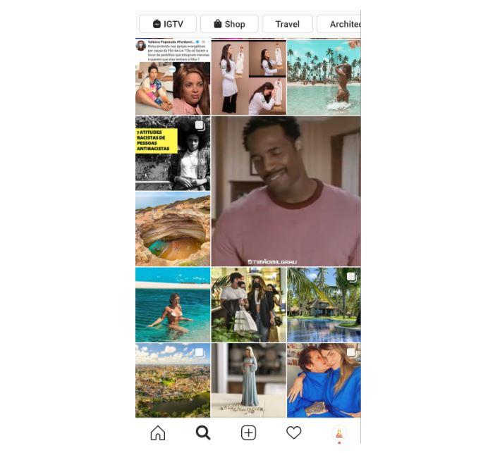 como aparecer no explorar do instagram: imagem da tela explorar do instagram