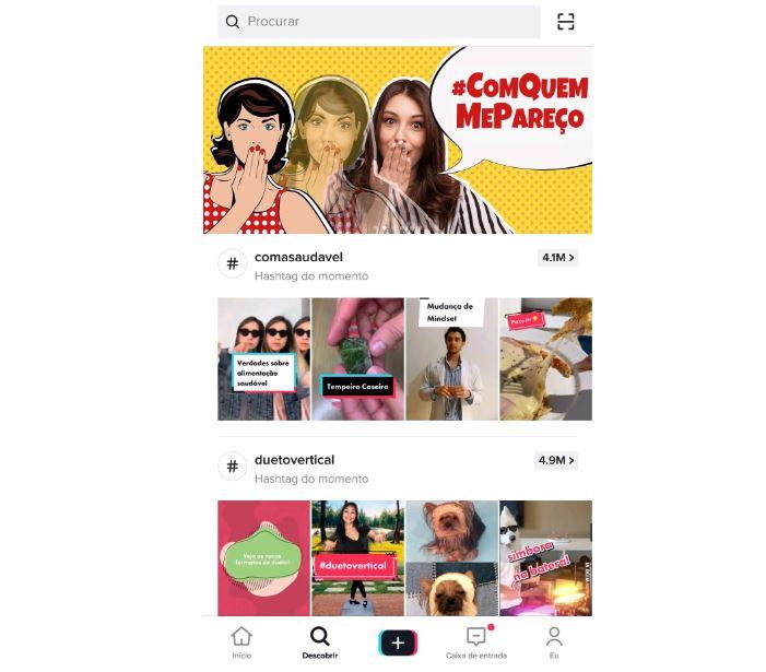 Desafios do tiktok para marcas: imagem da aba de descoberta do TikTok