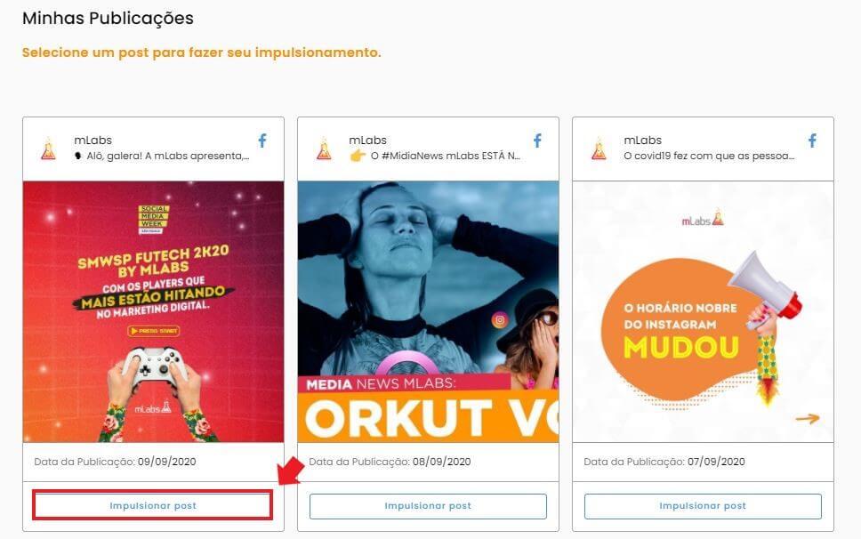 Post patrocinado: imagem da tela de impulsionamentos mostrando os posts para selecionar