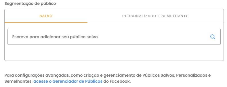 Post patrocinado: imagem da tela de segmentação de públicos