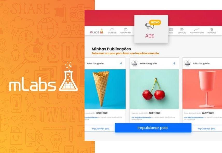 Post patrocinado: imagem com a logo da mLabs do lado esquerdo e a tela de impulsionamento do lato direito
