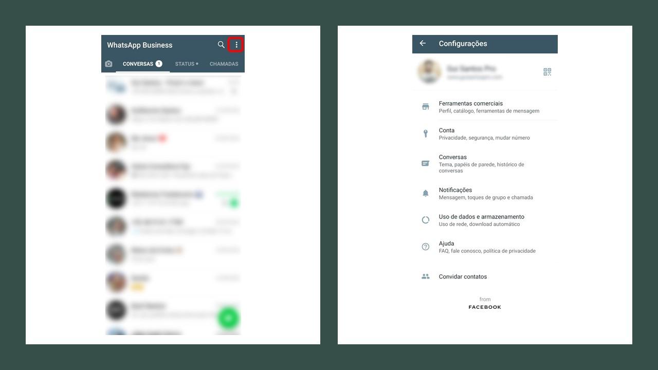 Como fazer catálogo no WhatsApp: imagem de duas telas do Whatsapp Business indicando onde realizar a ação