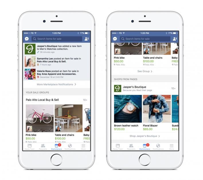como vender pelas redes sociais: imagem de dois celulares com a tela do facebook aberta mostrando ofertas de produtos