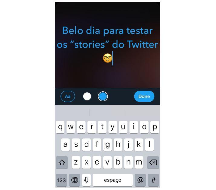 Novidades do Twitter: imagem de um fleet de texto no Twitter