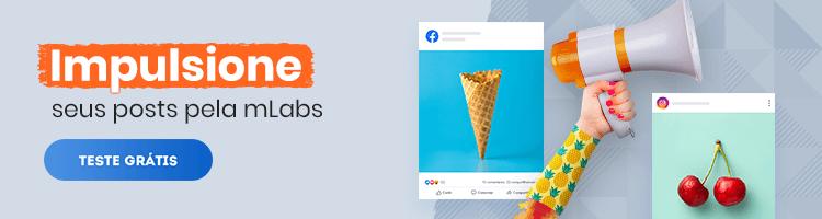 impulsionar-posts: uma imagem com postagens do instagram flutuando e os dizeres: impulsione seus posts pela mLabs.