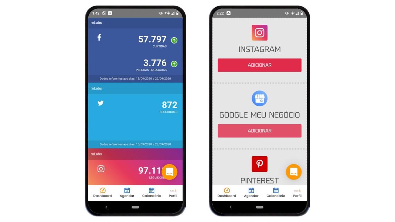 aplicativo de redes sociais: imagem de dois celulares indicando na tela a página de dashboard da mLabs