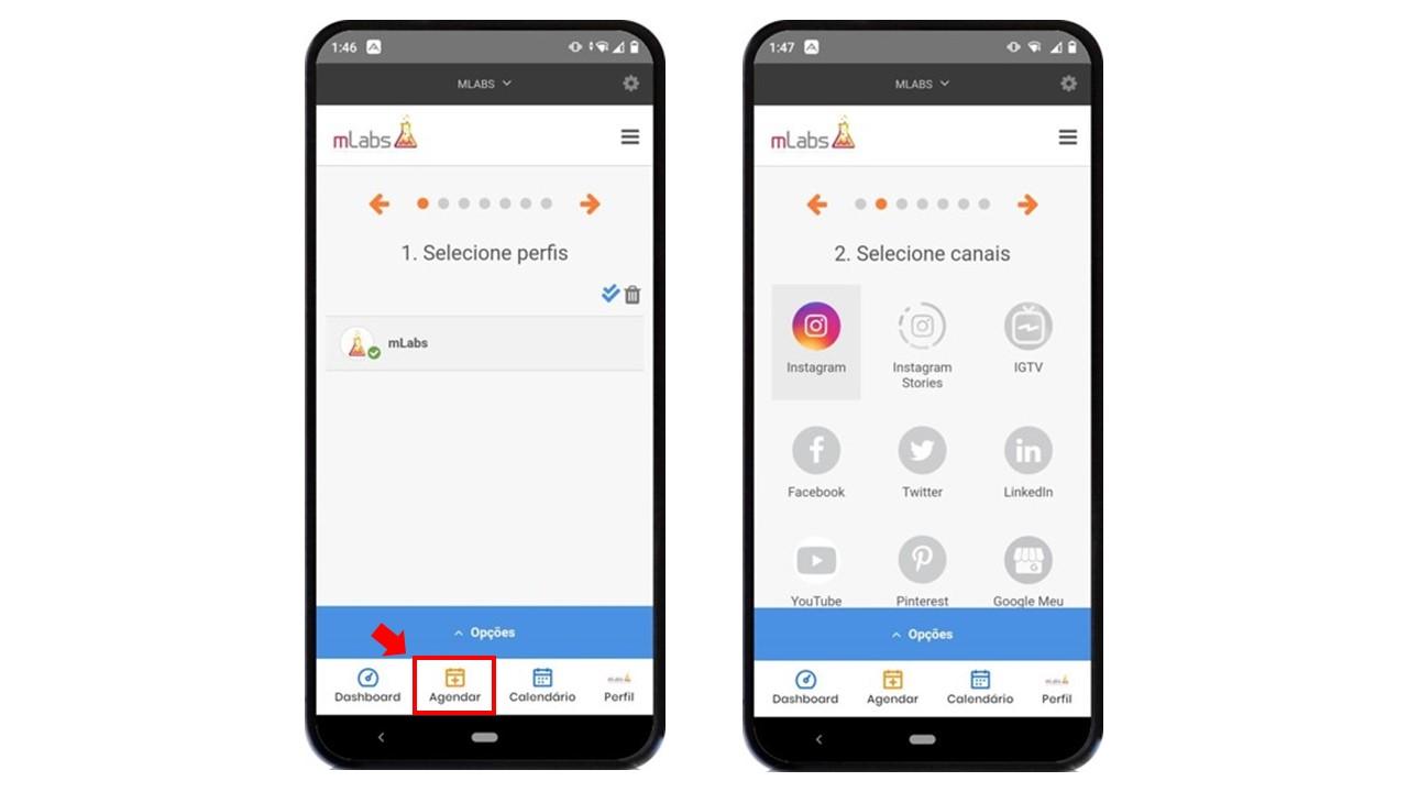 aplicativo de redes sociais: imagem de dois celulares indicando na tela a página de agendamento da mLabs