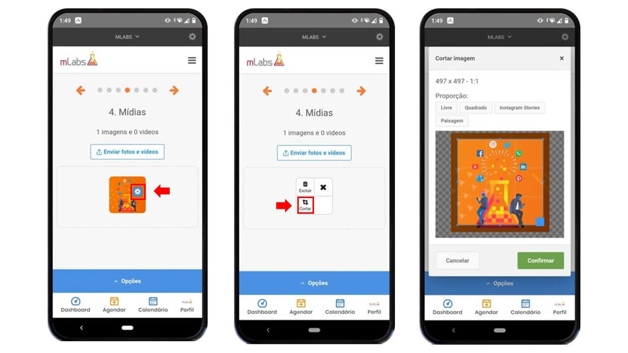 aplicativo de redes sociais: imagem de três celulares indicando na tela como editar imagem com a mLabs