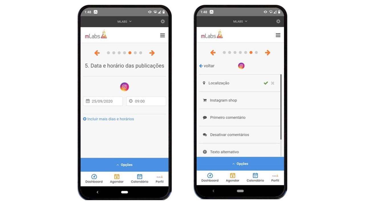 aplicativo de redes sociais: imagem de dois celulares indicando como escolher data e hora do post e adicionar recursos extras pela mLabs