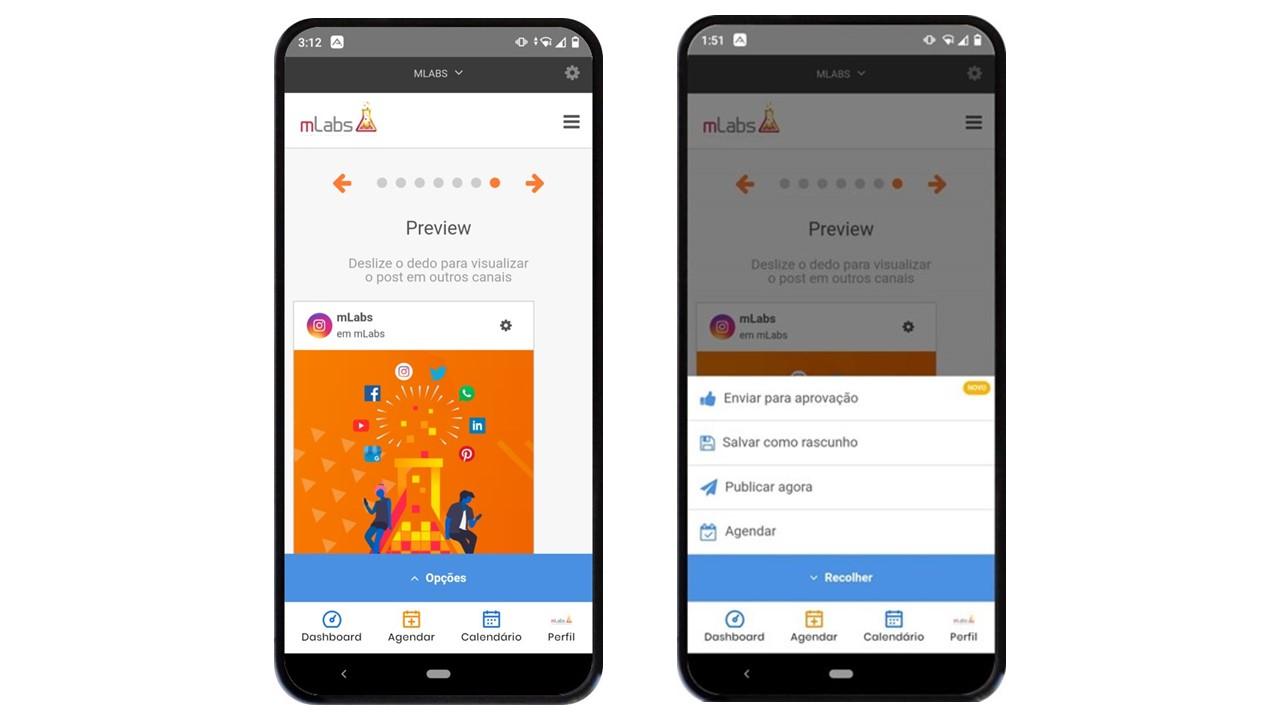 aplicativo de redes sociais: imagem de dois celulares indicando como visualizar o preview do post com a mLabs