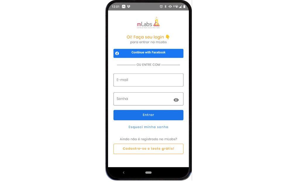 aplicativo de redes sociais: imagem de um celular indicando na tela a página de login da mLabs